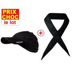 Lot promo casquette + foulard rafraîchissants Hyperkewl - noirs