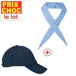 Lot promo casquette + foulard rafraîchissants Hyperkewl - bleus